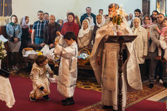 Celebration of Orthodox Easter in Parish of Sainted New Martyrs and Confessors of Russia. Royalty Free Stock Photo