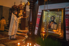 Celebration of Orthodox Easter in Parish of Sainted New Martyrs and Confessors of Russia. Royalty Free Stock Photography