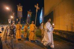 Celebration of Orthodox Easter in Parish of Sainted New Martyrs and Confessors of Russia. Royalty Free Stock Images