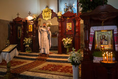 Celebration of Orthodox Easter in Parish of Sainted New Martyrs and Confessors of Russia. Stock Photo