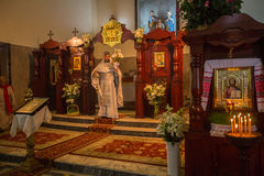 Celebration of Orthodox Easter in Parish of Sainted New Martyrs and Confessors of Russia. Stock Image