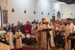 Celebration of Orthodox Easter in Parish of Sainted New Martyrs and Confessors of Russia. Royalty Free Stock Photos