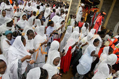 Celebration in orthodox ethiopian christian church. Royalty Free Stock Image