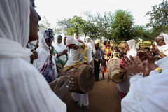 Celebration in orthodox ethiopian christian church. Stock Photo