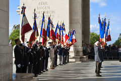 Celebration in Paris at Triumphal arch Royalty Free Stock Photography