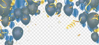 Celebration party background with balloons and serpentine. Greet. Ing, invitation or flyer. Party colorful Royalty Free Stock Photos