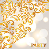 Celebration party background with golden ornament. Greeting, invitation card or flyer.  Stock Image