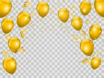 Celebration party background wiht golden balloons and ribbons. V. Ector illustration Vector Illustration