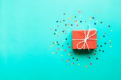 Celebration,party backgrounds concepts ideas with colorful gift box. Present in dot pattern design with confetti.Flat lay design template Royalty Free Stock Photography
