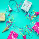 Celebration,party backgrounds concepts ideas with colorful gift box. Present in dot pattern design with confetti.Flat lay design template Stock Image