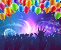 Celebration Party Balloons Background. Crowd background of peoples hands up in celebration in silhouette with balloons and abstract lights background Stock Photography
