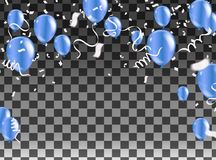Celebration party banner with blue balloons and serpentine silve. R Stock Photo