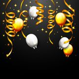 Celebration Party Banner With Golden Balloons And Confetti. Illustration of Celebration Party Banner With Golden Balloons And Confetti Stock Photos