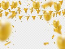 Celebration party banner with golden balloons. And serpentine Royalty Free Stock Photography