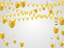 Celebration party banner with golden balloons and serpentine. Celebration party banner with golden Vector Illustration