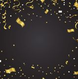 Celebration party banner with golden balloons and serpentine. on. A background eps.10 Royalty Free Stock Photography