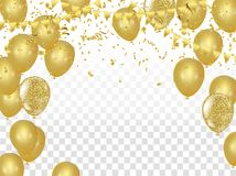 Celebration party banner with golden balloons and serpentine the. Floral ornament with bubbles. Vector Royalty Free Stock Photography