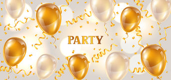 Celebration party banner with golden balloons and serpentine. Greeting, invitation card or flyer.  Royalty Free Stock Images