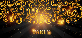 Celebration party banner with golden ornament. Greeting, invitation card or flyer.  Royalty Free Stock Photo