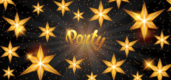 Celebration party banner with golden stars. Greeting, invitation card or flyer Stock Photos