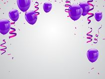 Celebration party banner with purple balloons isolated on white background. Confetti and ribbons. Vector illustration Stock Photos