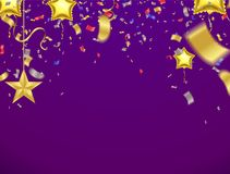 Celebration Party Banner with Realistic Glow Multi Colored Confetti and Serpentine on purple Background vector illustration