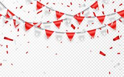 Celebration party banner. Red and silver foil confetti and flag garland. Vector illustration.  stock illustration