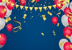 Celebration party banner with Red and white balloons happy birth. Day balloons Colorful Stock Photo