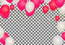 Celebration party banner with Red and white balloons happy birth. Day balloons Colorful Stock Photos