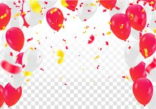Celebration party banner with Red and white balloons happy birth. Day balloons Colorful Royalty Free Stock Photo