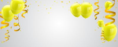Celebration party banner with Yellow balloons  on white background. Confetti and ribbons. Vector illustration Stock Photos