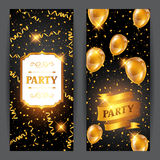 Celebration party banners with golden balloons and serpentine. Greeting, invitation card or flyer. Celebration party background with golden balloons and Royalty Free Stock Image