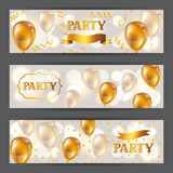 Celebration party banners with golden balloons and serpentine. Greeting, invitation card or flyer. Celebration party background with golden balloons and Stock Photo