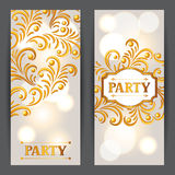 Celebration party banners with golden ornament. Greeting, invitation card or flyer. Celebration party background with golden ornament. Greeting, invitation card Royalty Free Stock Photography
