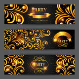 Celebration party banners with golden ornament. Greeting, invitation card or flyer. Celebration party background with golden ornament. Greeting, invitation card Royalty Free Stock Image