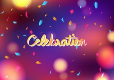 Celebration party blurry colorful abstract background decoration confetti falling, greeting card festival concept vector stock illustration