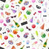 Celebration party carnival festive background. Celebration party carnival festive seamless background. Colorful symbols pattern - hat, mask, gifts, balloons Stock Photo