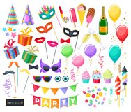 Celebration party carnival festive icons set. Colorful symbols - hat, mask, gifts, balloons, champagne, fireworks flags Royalty Free Stock Images
