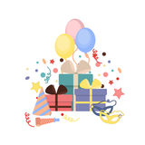 Celebration party carnival festive icons set. Colorful symbols hat, mask, gifts, balloon. Royalty Free Stock Photography