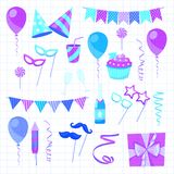 Flat vector icons Celebration party carnival festive icons set. Colorful symbols and elements - mask, gifts, presents. Celebration party carnival festive icons Stock Photos