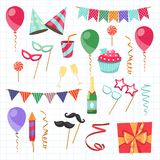 Flat vector icons Celebration party carnival festive icons set. Colorful symbols and elements - mask, gifts, presents. Celebration party carnival festive icons Royalty Free Stock Photography