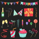 Flat vector icons Celebration party carnival festive icons set. Colorful symbols and elements - mask, gifts, presents Royalty Free Stock Photography