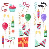 Flat vector icons Celebration party carnival festive icons set. Colorful symbols and elements - mask, gifts, presents Stock Photos