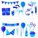 Flat vector icons Celebration party carnival festive icons set. Colorful symbols and elements - mask, gifts, presents. Celebration party carnival festive icons Royalty Free Stock Photo