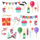 Flat vector icons Celebration party carnival festive icons set. Colorful symbols and elements - mask, gifts, presents. Celebration party carnival festive icons Royalty Free Stock Images