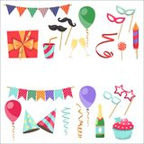 Flat vector icons Celebration party carnival festive icons set. Colorful symbols and elements - mask, gifts, presents. Celebration party carnival festive icons Stock Photography