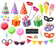 Celebration party carnival festive icons set. Colorful symbols - hat, mask, gifts, balloons, glasses, serpentine and flags Royalty Free Stock Photo