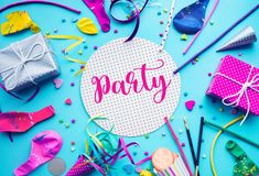 Celebration,party concepts ideas with colorful element,gift box. Present,confetti,balloon.Flat lay design template royalty free stock image