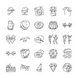 Celebration And Party Doodle Icons Set. This is a creative, unique set of doodle icons for celebration and party projects. A perfect pack to be used in your Stock Photography