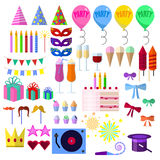 Celebration party elements collection, Carnival festive flat icons. Set, Colorful symbols pack contains - hat, mask, balloon, fireworks, gift, birthday cake Royalty Free Stock Photo
